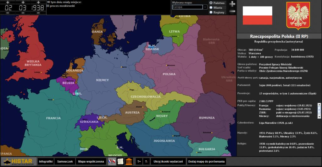 Atlas historyczny - Europa w dobie anschlussu Austrii 1938 r