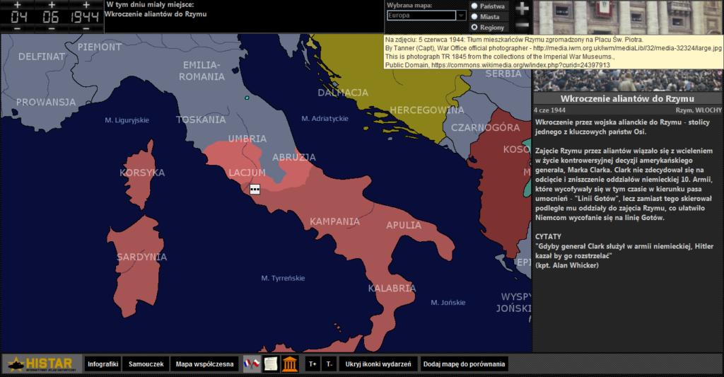 Atlas historyczny - Włochy po bitwie pod Monte Cassino