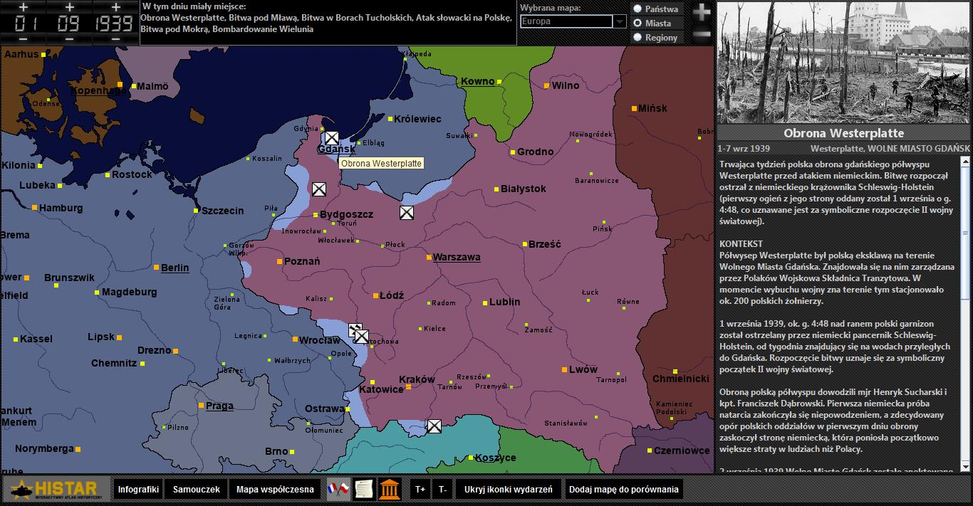 Atlas historyczny - kampania wrześniowa, obrona Westerplatte
