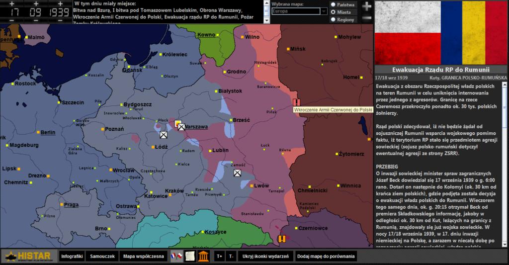 Atlas historyczny - kampania wrześniowa, wkroczenie Armii Czerwonej